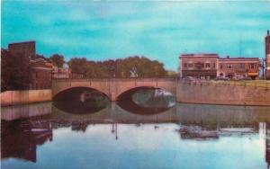 Nashua New Hampshire~Main Street Bridge & Shops~1940s Postcard