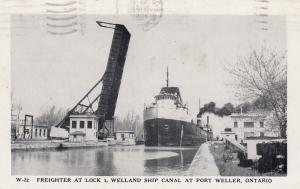 PORT WELLER, Ontario, PU-1956; Freighter at Lock 1, Welland Ship Canal
