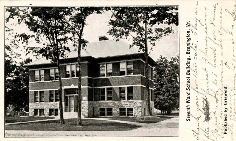 VT - Bennington. Seventh Ward School Building (Private Mailing Card)