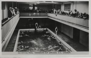 Swimming Pool Harrison Hot Springs BC Mineral Springs Vintage Postcard RPPC