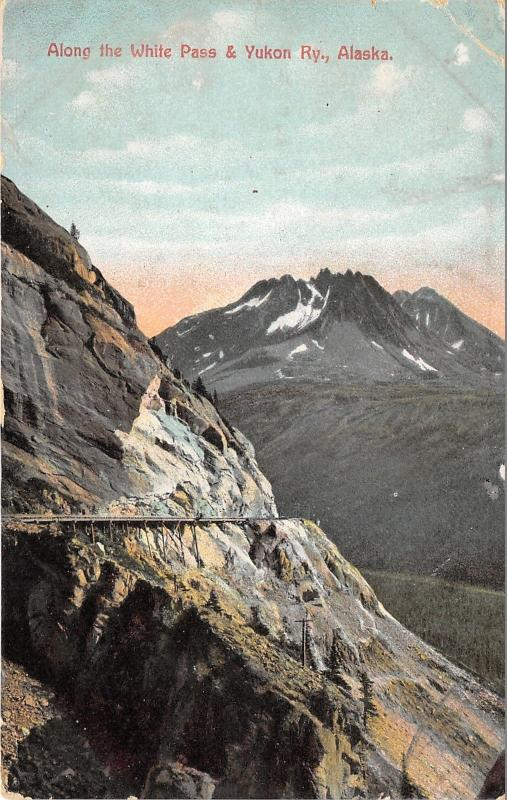 Alaska~Along White Pass & Yukon Railway~Tracks Along Mountain~1908 Postcard