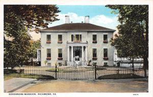 A54/ Richmond Virginia Va Postcard c1915 Governors Mansion Home