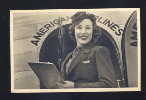 AMERICAN AIRLINES STEWARDESS FLIGHT ATTENDANT AVIATION ADVERTISING POSTCARD