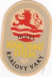 Czechoslovakia Karlovy Vary Hotel Narodni Dum Vintage Luggage Label sk4322