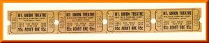 4 Vintage Mount Union Theatre Tickets, Alliance, Ohio/OH, (Mt. Union), 1960's?