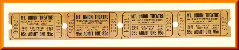 4 Vintage Mount Union Theatre Tickets, Alliance, Ohio/OH, (Mt. Union), 1960's?