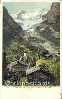 Grindelwald Swizerland, Schweiz, Svizzera, Suisse Kirche und Viescherhorner  ...