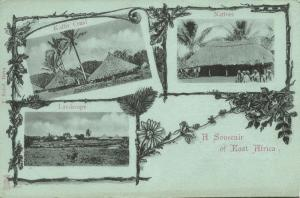 east africa, MOZAMBIQUE, Natives with Kaffir Craal, Panorama (1899)