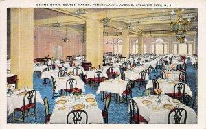 Dining Room, Colton Manor, Pennsylvania Ave., Atlantic City, NJ, Unused Postcard