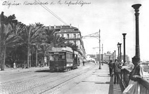 Alger Boulevard. de la Republique Trolley Real Photo Postcard