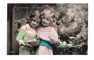 HI1005 EASTER GREETINGS LITTLE VICTORIAN GIRLSBOW IN HAIR  CHICKEN AND EGGS