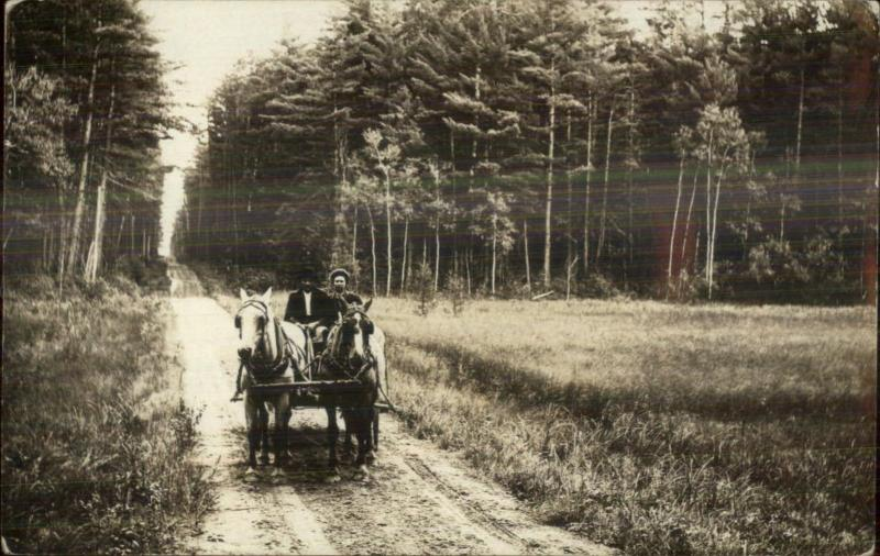 Horse Wagon Wooden Road Unidentified c1910 Real Photo Postcard