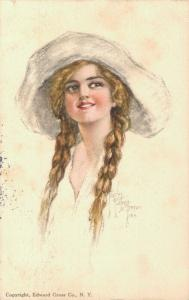 Girl with a hat Edward Gross N. Y. Artist signed 01.61