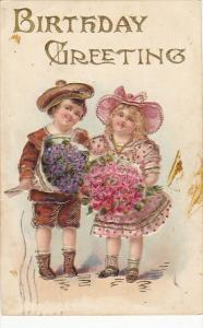 Birthday Young Girl and Boy With Flowers 1907