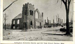 MA - Chelsea. April 12, 1908 Fire Ruins, Bellingham Methodist Church, Old Hig...