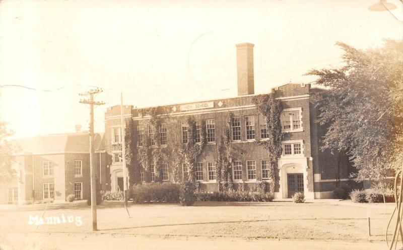 Manning Iowa~High School~Ivy Covered~Smokestack~1944 Real Photo Postcard~RPPC
