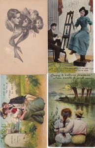 0137 Grabbag Auction 4 Romantic Couples Postcards Starting At .99