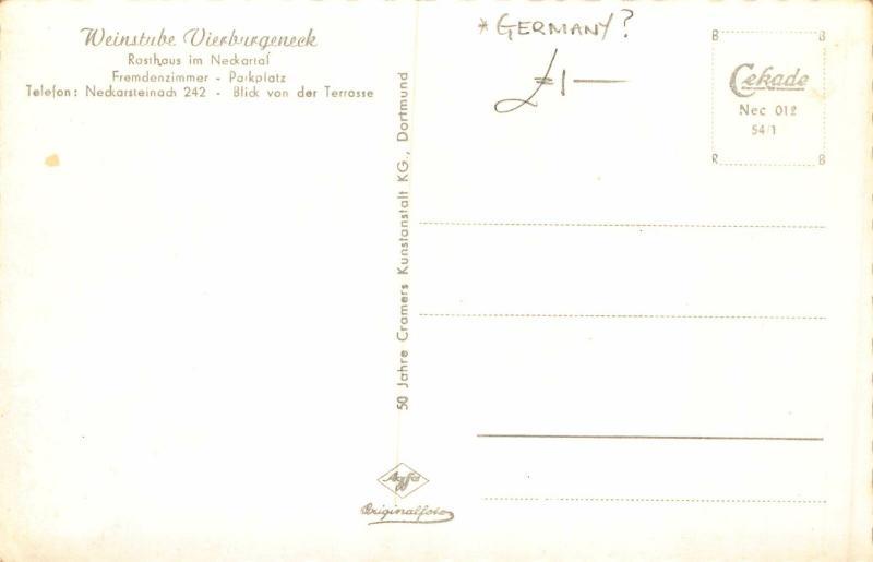 Weinstube Vierburgeneck Rasthaus im Neckartal RIver Boats Postcard