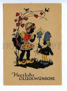 195851 GERMAN Elf & gnome silhouette EB Vintage postcard
