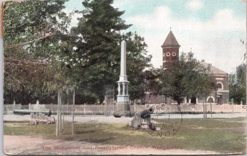 The Monument & Presbyterian Church Wangarrata Australia AU Victoria Postcard E15