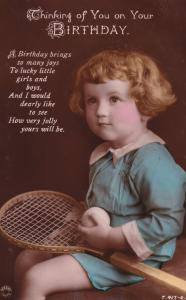 Child Playing Tennis Antique Real Photo Greetings Postcard