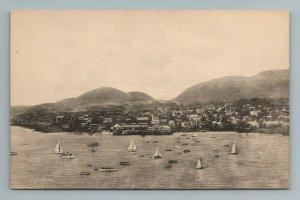 Bird's Eye View of Bar Harbor Bay Atlantic Sailboat Boats Maine ME Postcard