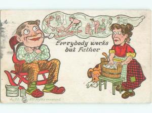 Pre-Linen Comic EVERYBODY WORKS BUT FATHER - WOMAN DOES LAUNDRY AB9485