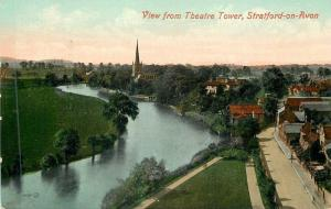 Stratford-on-Avon UK~View from Theatre Tower Showing River Avon & Church 1905