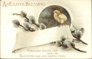 Easter Chick & Pussy Willows - Unsigned Clapsaddle Postcard c1910