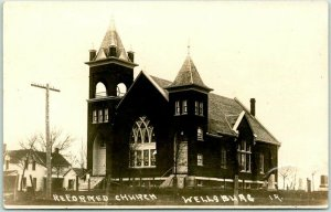 Wellsburg, Iowa RPPC Real Photo Postcard REFORMED CHURCH Building View 1913