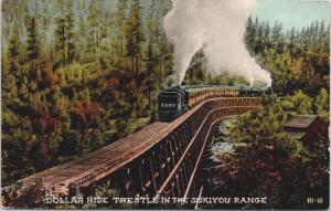 Dollar Hide Trestle Siskiyou Range CA California Train Unused Postcard E33