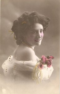 Pretty smiling lady. Bare shoulders.Roses Old vintage antique Spanih Postcard