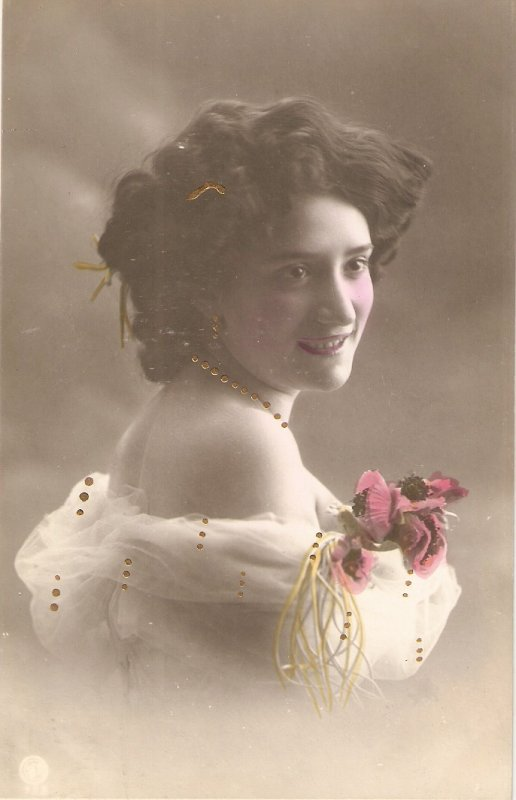 Pretty smiling lady. Bare shoulders.Roses Old vintage antique Spanih Postcard