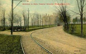 NY - Binghamton. State Hospital Entrance, Grounds