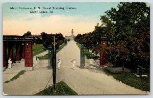 Great Lakes Illinois~US Naval Training Station~Sailors Guard Main Entrance~c1910