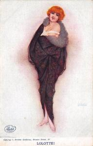 Raphael Kirchner Signed Lolotte Wrapped Woman Sketch Postcard