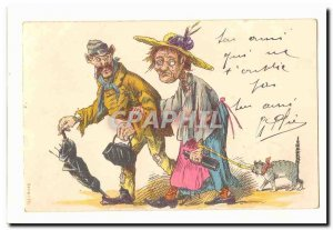 Old Postcard couples tramps Chat (illustrator)
