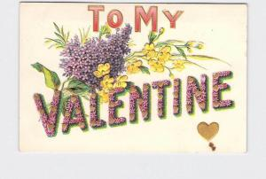 ANTIQUE POSTCARD VALENTINE FORGET ME NOT HEARTS FLOWERS EMBOSSED