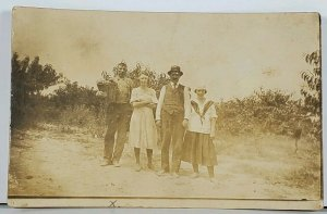 RPPC Family Posing in Garden For Photo Hagerstown Md Family Est Postcard K2