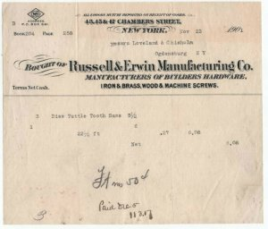 1902 Billhead, RUSSELL & ERWIN MANUFACTURING CO. Builders Hardware, New York, NY