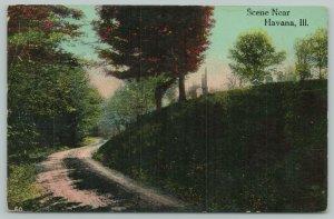 Havana Illinois~Gravel Road Below Cemetery Hill~Tombstones~1914 Postcard