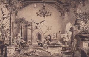 Interior, Great Hall, Warwick Castle, Warwick, England, UK, 1900-1910s
