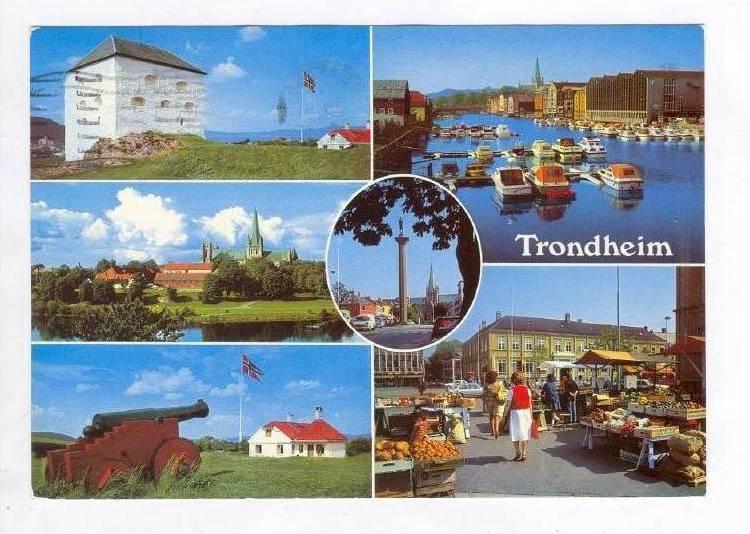 TRONDHEIM, 6-View, Dock, Market Place, Cannon Monument, Norway, PU-1984