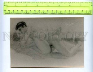 207927 RUSSIA sex naked couple in bed at sea old photo card