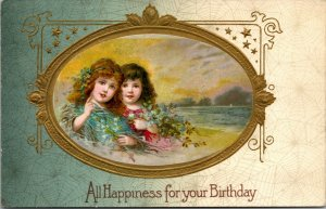 Antique All Happiness For Your Birthday Embossed GIRLS WOMEN VINTAGE Postcard