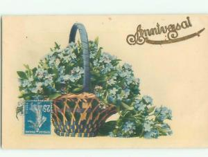 Very Old Foreign Postcard BEAUTIFUL FLOWERS SCENE AA4164