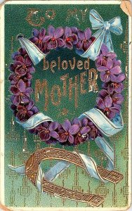 To My Beloved Mother Vintage Embossed Postcard Standard View Card