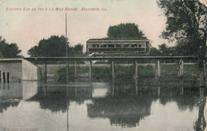 BELVIDERE , Illinois , PU-1906 ; Electric Trolley on 2 1-2 Mile Bridge