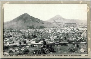 San Luis Obispo, California Postcard Bird's-Eye Panorama City View Wayne Paper