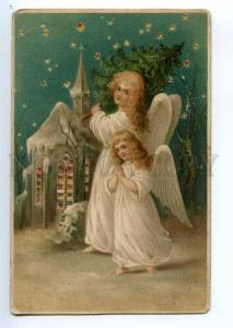 234550 HOLD-TO-LIGHT Christmas ANGEL Vintage X-MAS postcard